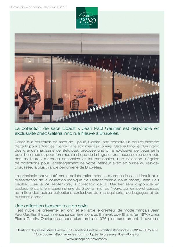 484a46affa9 Lipault x Jean Paul Gaultier exclusief bij Galeria Inno Nieuwstraat Brussel
